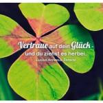 Vierblättriges Kleeblatt mit dem Zitat: Vertraue auf dein Glück - und du ziehst es herbei. Lucius Annaeus Seneca