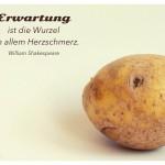 Kartoffelgesicht mit dem William Shakespeare Zitat: Erwartung ist die Wurzel von allem Herzschmerz. William Shakespeare