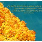 Herbstbaum mit dem Albert Schweitzer Zitat: Die größte Entscheidung deines Lebens liegt darin, dass du dein Leben ändern kannst, indem du deine Geisteshaltung änderst. Albert Schweitzer