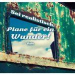 Altes Schiff mit dem Osho Zitat: Sei realistisch: Plane für ein Wunder! Osho