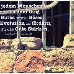 Gitterfenster mit dem Krishnamurti Zitat: In jedem Menschen und in jedem Ding ist Gutes sowie Böses. Um die Evolution zu fördern, musst du das Gute Stärken. Jiddu Krishnamurti