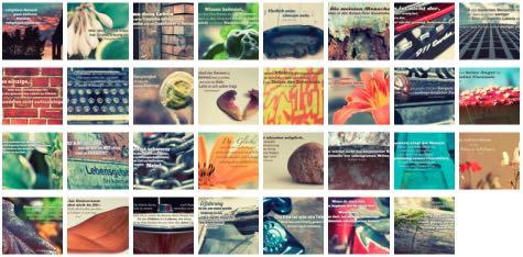 Übersichtsbild. Bilder Galerie mit Weisheiten, Zitate, Sprichwörter und Sprüche des Tages Juli 2016
