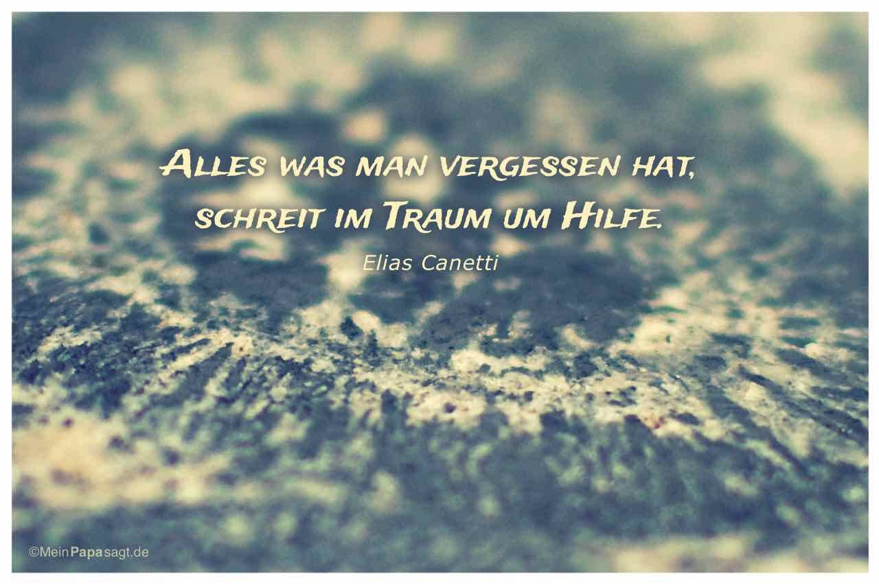 Stein Oberfläche mit dem Canetti Zitat: Alles was man vergessen hat, schreit im Traum um Hilfe. Elias Canetti