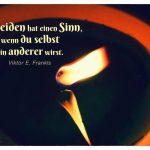 Kerzen-Flamme mit Spiegelung und dem Frankl Zitat: Das Leiden hat einen Sinn, wenn du selbst ein anderer wirst. Viktor E. Frankls