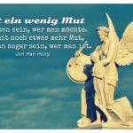 """Skulptur """"Nike lehrt den Knaben Heldensagen"""", Schlossbrücke Berlin-Mitte mit dem Zitat: Mit ein wenig Mut kann man sein, wer man möchte. Und mit noch etwas mehr Mut, kann man sogar sein, wer man ist. Jun Hao Hung"""
