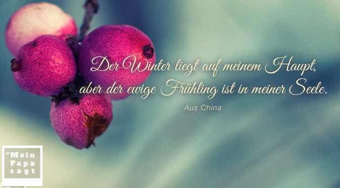 Der Winter liegt auf meinem Haupt, aber der ewige Frühling ist in meiner Seele…