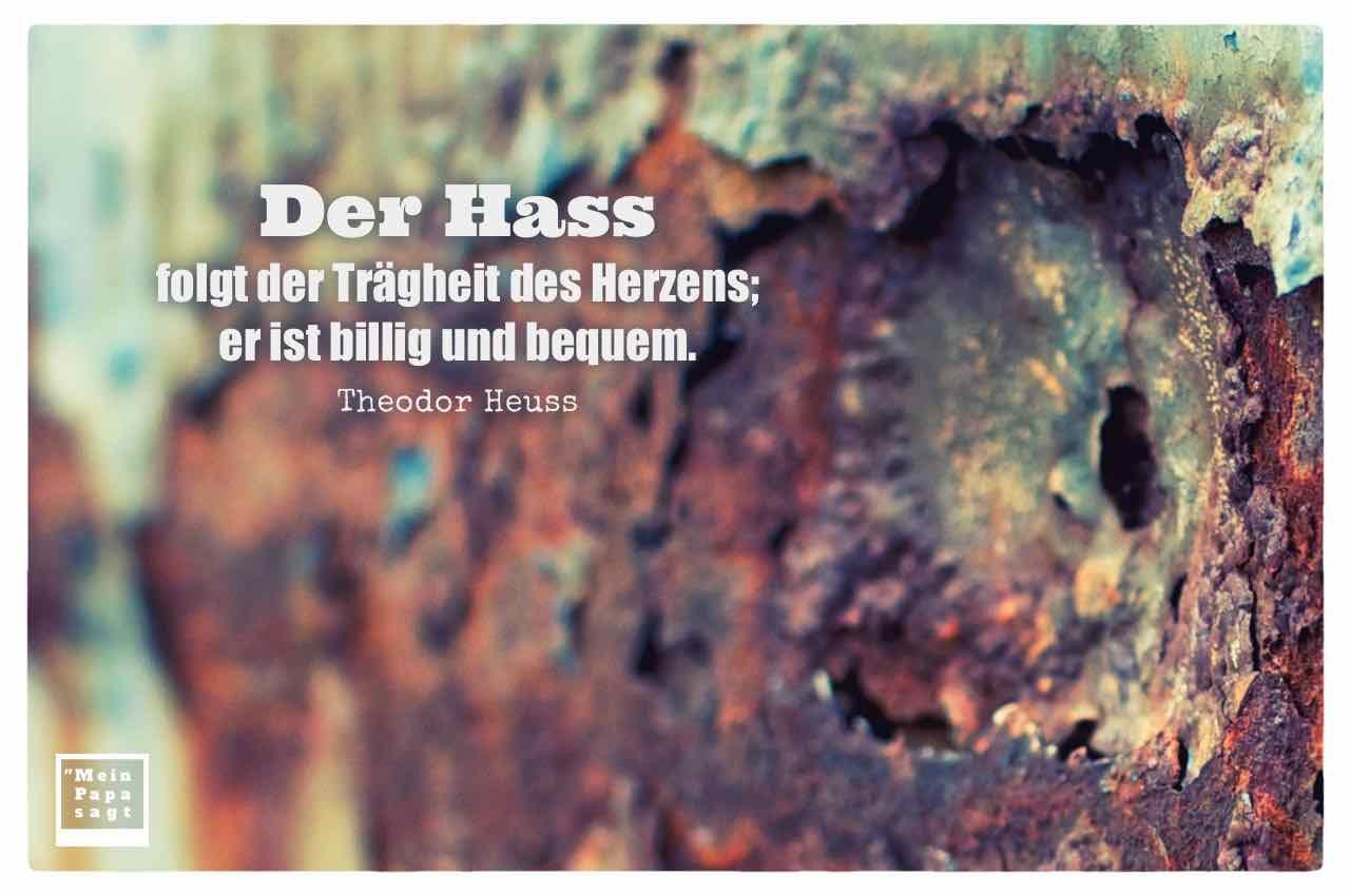 verrostetes Metall mit dem Heuss Zitat: Der Hass folgt der Trägheit des Herzens; er ist billig und bequem. Theodor Heuss
