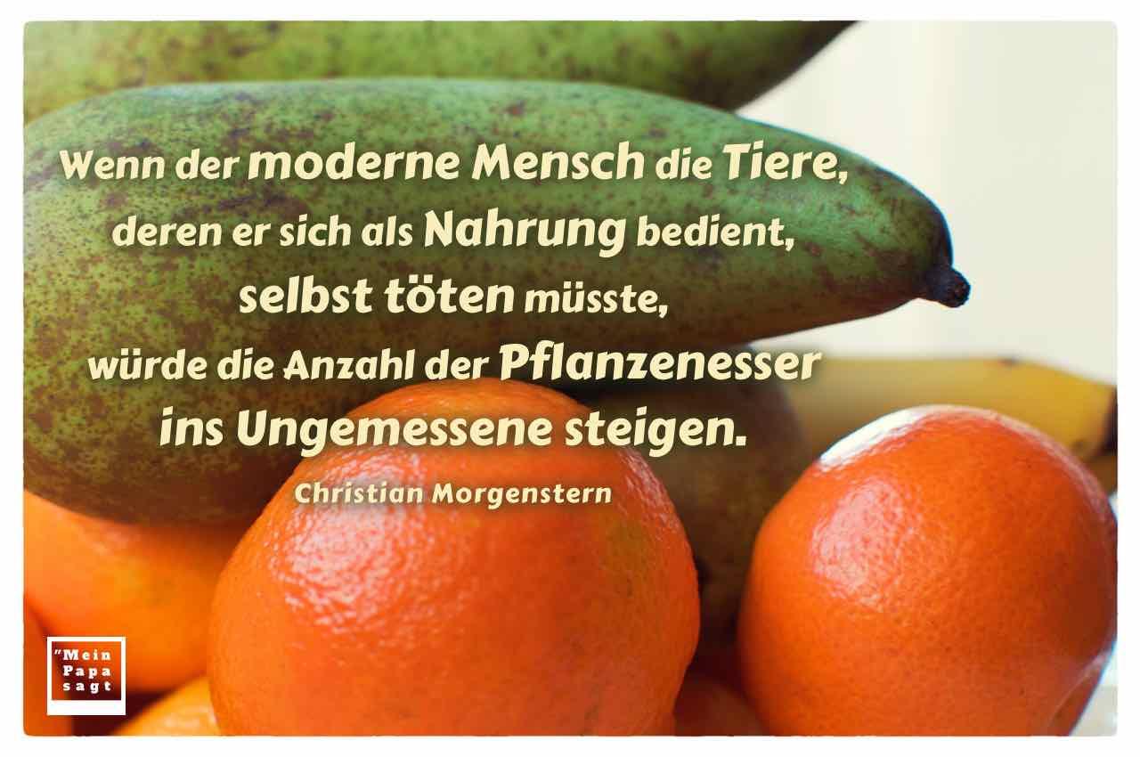 Obst - Birne, Orange und Banane mit dem Morgenstern Zitat: Wenn der moderne Mensch die Tiere, deren er sich als Nahrung bedient, selbst töten müsste, würde die Anzahl der Pflanzenesser ins Ungemessene steigen. Christian Morgenstern