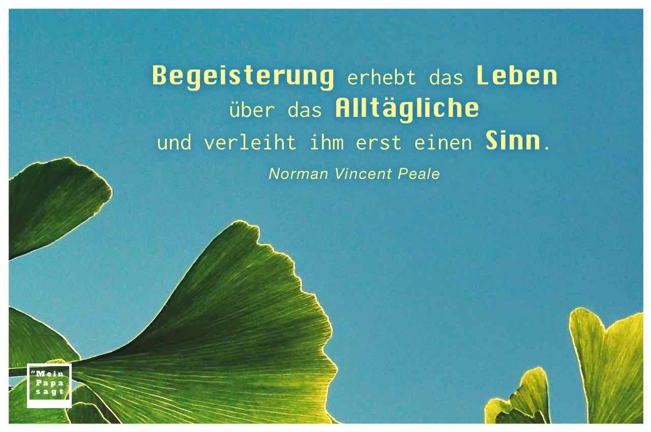Ginkgo Baum mit dem Peale Zitate: Begeisterung erhebt das Leben über das Alltägliche und verleiht ihm erst einen Sinn. Norman Vincent Peale