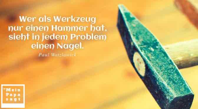 Wer als Werkzeug nur einen Hammer hat, sieht in jedem Problem einen Nagel…