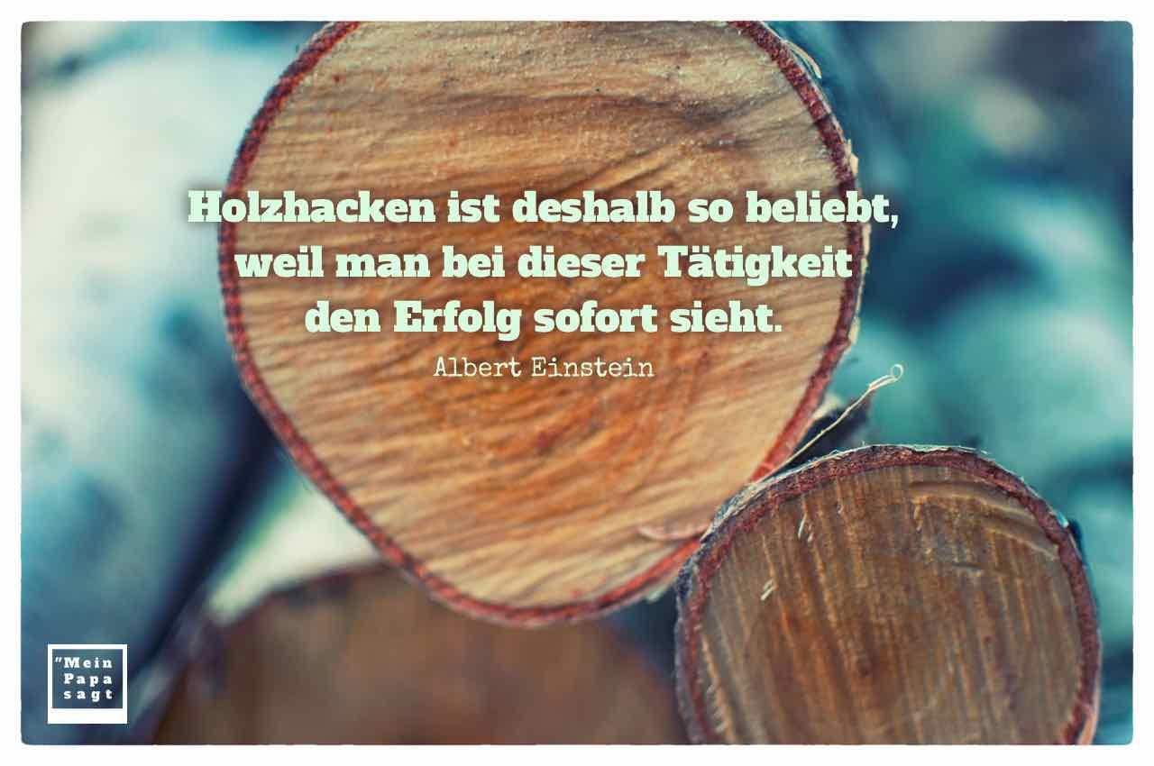 Holzstapel mit dem Einstein Zitat: Holzhacken ist deshalb so beliebt, weil man bei dieser Tätigkeit den Erfolg sofort sieht. Albert Einstein