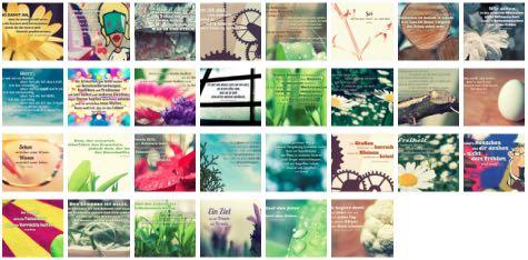 Übersichtsbild. Bilder Galerie mit Lebensweisheiten, Weisheiten, Zitate, Sprichwörter und Sprüche des Tages April 2017