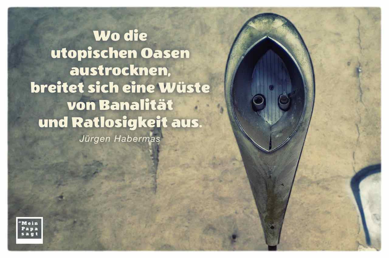 Alte DDR Straßenlaterne mit dem Habermas Zitat: Wo die utopischen Oasen austrocknen, breitet sich eine Wüste von Banalität und Ratlosigkeit aus. Jürgen Habermas
