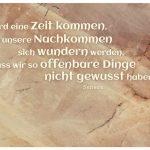Stein mit dem Seneca Zitat: Es wird eine Zeit kommen, da unsere Nachkommen sich wundern werden, dass wir so offenbare Dinge nicht gewusst haben. Seneca