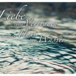 Wasser in einem Springbrunnen mit dem Spruch: Liebe ohne Vertrauen ist wie ein Fluss ohne Wasser.