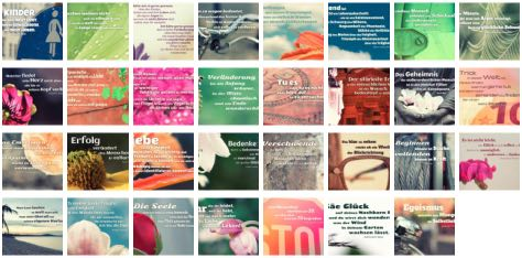 Übersichtsbild. Bilder Galerie mit Lebensweisheiten, Weisheiten, Zitate, Sprichwörter und Sprüche des Tages Juli 2017