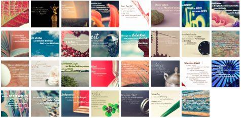Übersichtsbild. Bilder Galerie mit Lebensweisheiten, Weisheiten, Zitate, Sprichwörter und Sprüche des Tages August 2017