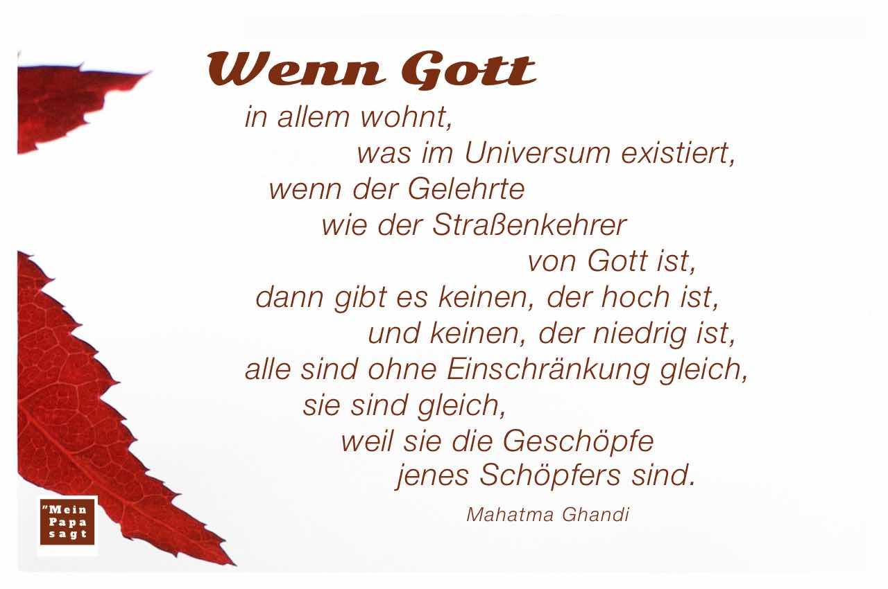 japanischer Ahorn mit dem Ghandi Zitat: Wenn Gott in allem wohnt, was im Universum existiert, wenn der Gelehrte wie der Straßenkehrer von Gott ist, dann gibt es keinen, der hoch ist, und keinen, der niedrig ist, alle sind ohne Einschränkung gleich, sie sind gleich, weil sie die Geschöpfe jenes Schöpfers sind. Mahatma Ghandi