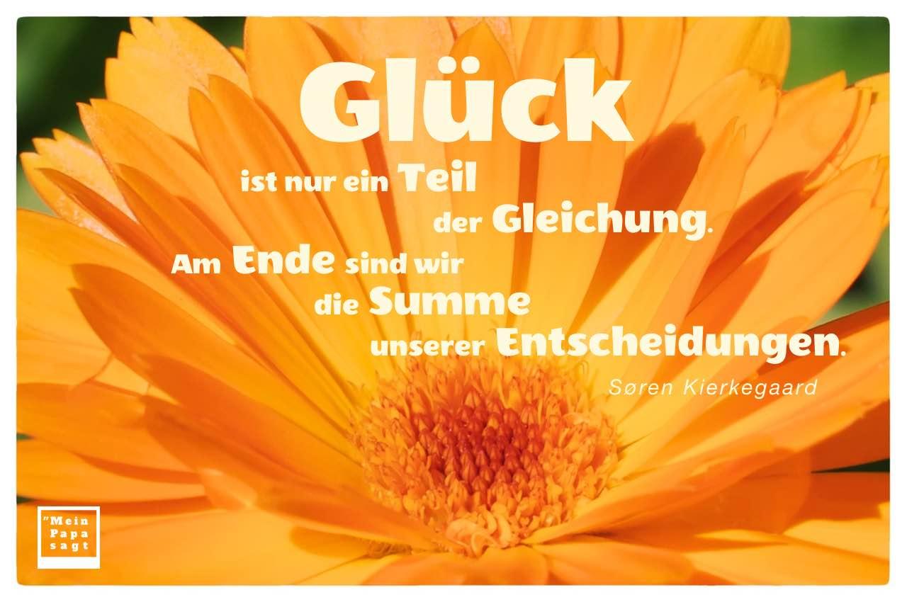 Blütenkelch mit dem Kierkegaard Zitat: Glück ist nur ein Teil der Gleichung. Am Ende sind wir die Summe unserer Entscheidungen. Søren Kierkegaard