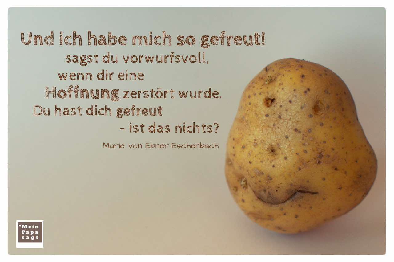 Kartoffelgesicht mit dem Ebner-Eschenbach Zitat: Und ich habe mich so gefreut! sagst du vorwurfsvoll, wenn dir eine Hoffnung zerstört wurde. Du hast dich gefreut - ist das nichts? Marie von Ebner-Eschenbach
