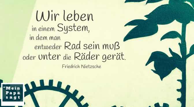 Wir leben in einem System, in dem man entweder Rad sein muß oder unter die Räder gerät