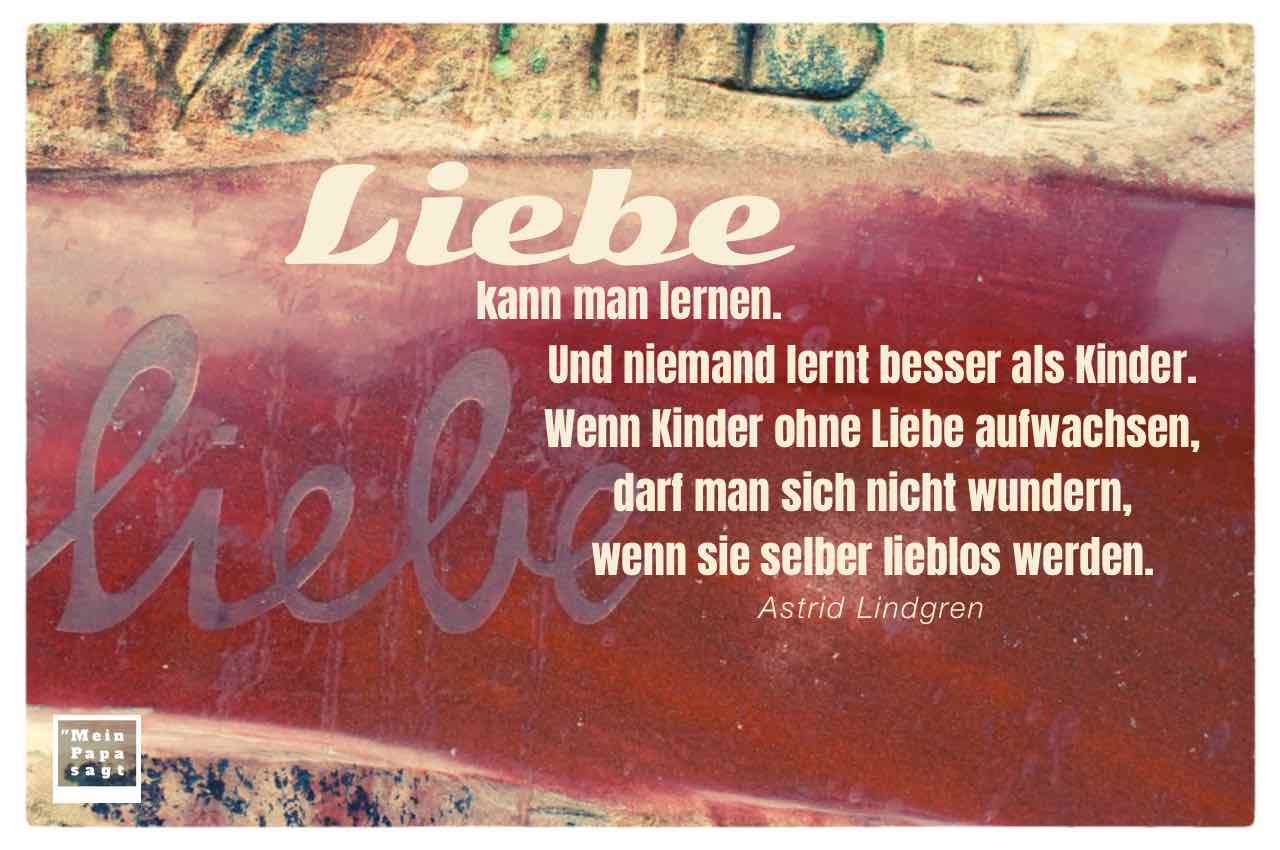 Stein mit der Aufschrift Liebe und dem Lindgren Zitat: Liebe kann man lernen. Und niemand lernt besser als Kinder. Wenn Kinder ohne Liebe aufwachsen, darf man sich nicht wundern, wenn sie selber lieblos werden. Astrid Lindgren