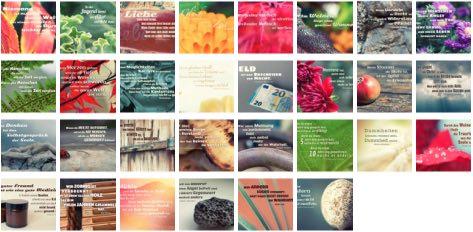 Übersichtsbild. Bilder Galerie mit Lebensweisheiten, Weisheiten, Zitate, Sprichwörter und Sprüche des Tages April 2018