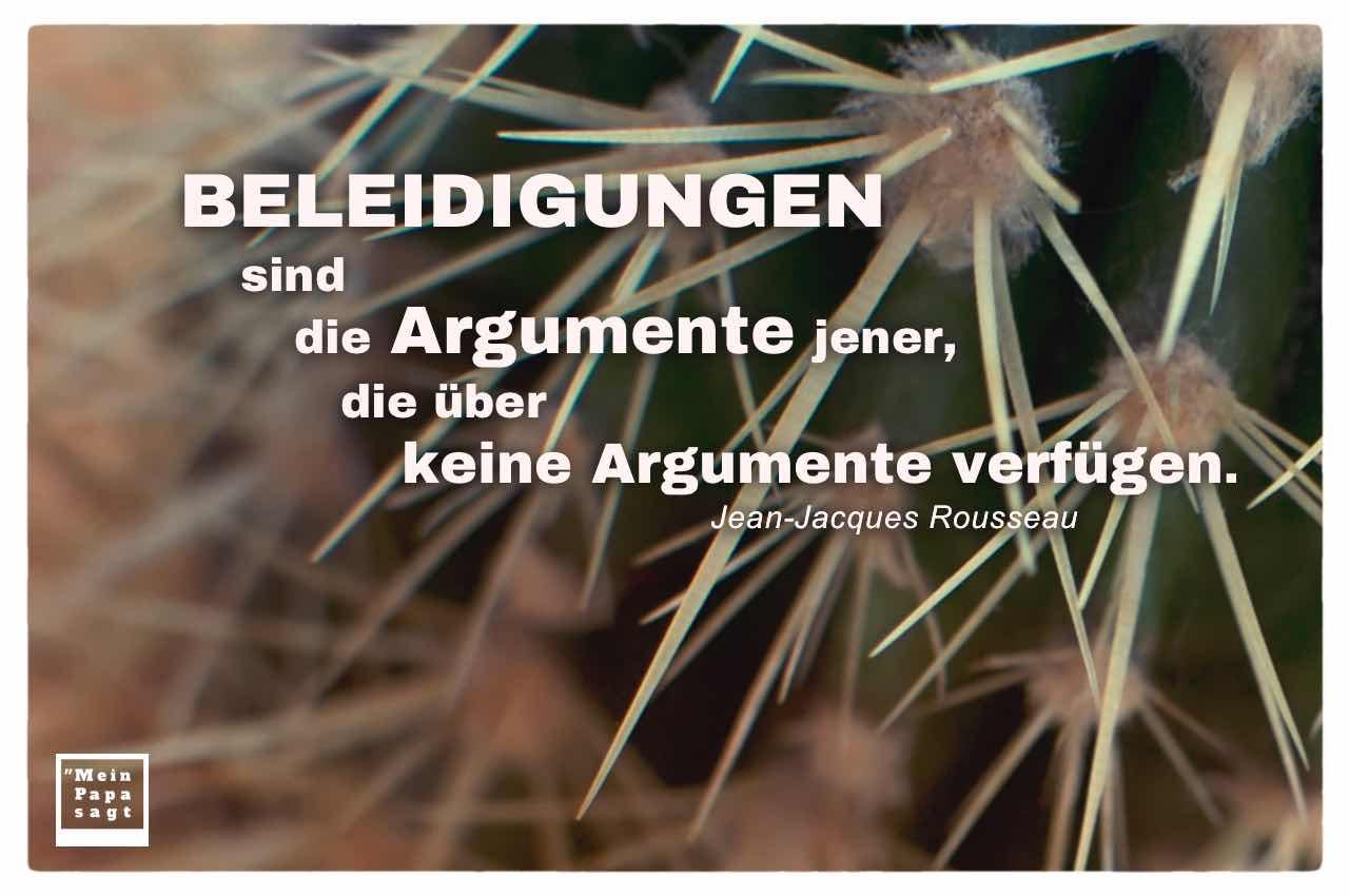 Kaktus mit dem Rousseau Zitate-Bild: Beleidigungen sind die Argumente jener, die über keine Argumente verfügen. Jean-Jacques Rousseau