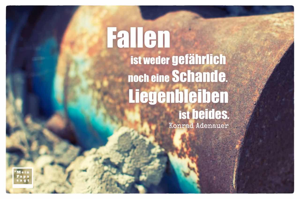 Verrostete Dose mit dem Adenauer Zitate-Bild: Fallen ist weder gefährlich noch eine Schande. Liegenbleiben ist beides. Konrad Adenauer