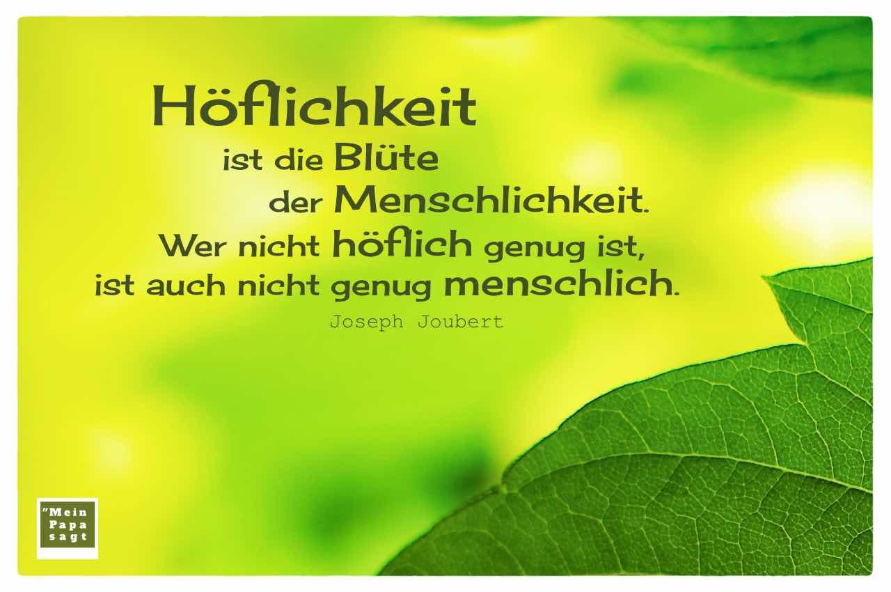 Blätter im Sonnenschein mit dem Joubert Zitat: Höflichkeit ist die Blüte der Menschlichkeit. Wer nicht höflich genug ist, ist auch nicht genug menschlich. Joseph Joubert