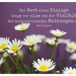 Margeriten mit dem Popper Zitate Bild: Der Wert eines Dialogs hängt vor allem von der Vielfalt der konkurrierenden Meinungen ab. Karl Popper