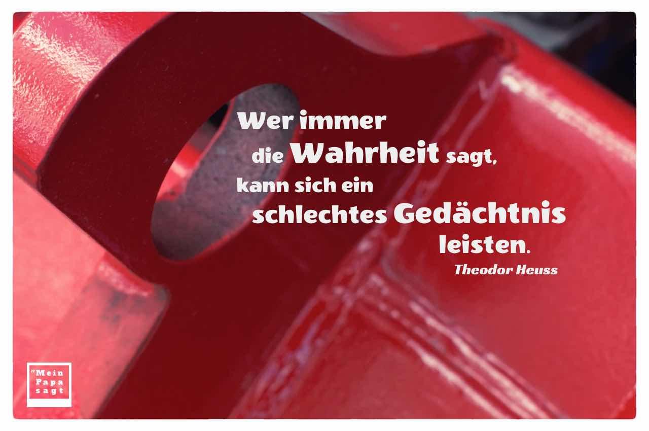 Loch im Metall mit dem Heuss Bilder Zitat: Wer immer die Wahrheit sagt, kann sich ein schlechtes Gedächtnis leisten. Theodor Heuss