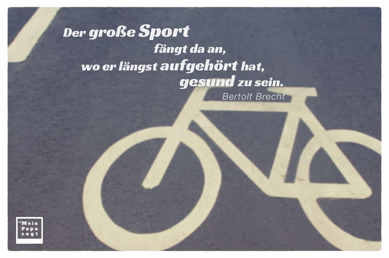 Fahrradmarkierung auf einer Strasse mit Brecht Zitate Bildern: Der große Sport fängt da an, wo er längst aufgehört hat, gesund zu sein. Bertolt Brecht