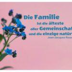 kleine Blütenkelche mit Rousseau Zitate Bildern: Die Familie ist die älteste aller Gemeinschaften und die einzige natürliche. Jean-Jacques Rousseau