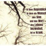 Winterbäume mit dem Freud Zitate Bild: In dem Augenblick, in dem ein Mensch den Sinn und den Wert des Lebens bezweifelt, ist er krank. Sigmund Freud
