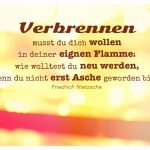 Lichter mit Nietzsche Zitate Bilder: Verbrennen musst du dich wollen in deiner eignen Flamme: wie wolltest du neu werden, wenn du nicht erst Asche geworden bist! Friedrich Nietzsche