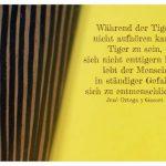 Afrikanische Tigermaske mit Gasset Bilder Zitat: Während der Tiger nicht aufhören kann, Tiger zu sein, sich nicht enttigern kann, lebt der Mensch in ständiger Gefahr, sich zu entmenschlichen. José Ortega y Gasset