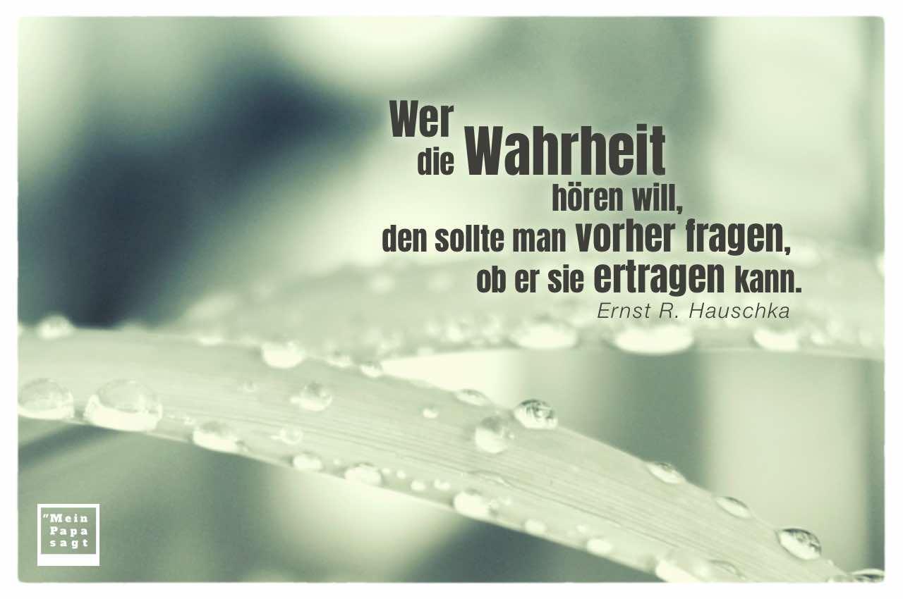 Tropfen auf Palmenblatt mit Hauschka Zitate Bilder: Wer die Wahrheit hören will, den sollte man vorher fragen, ob er sie ertragen kann. Ernst R. Hauschka