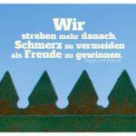 Zacken am Zaun mit Freud Zitate Bildern: Wir streben mehr danach, Schmerz zu vermeiden als Freude zu gewinnen. Sigmund Freud
