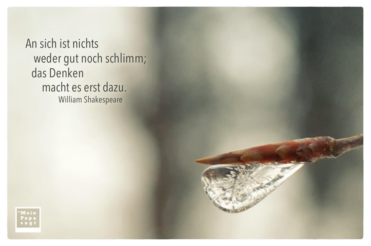Eiszapfen mit Shakespeare Zitate Bilder: An sich ist nichts weder gut noch schlimm; das Denken macht es erst dazu. William Shakespeare