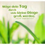 Grüne Blätter mit dem irischen Sprichwort: Möge dein Tag durch viele kleine Dinge groß werden. Irischer Segenswunsch