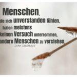 Eiszapfen an Zweig mit Steinbeck Zitate Bildern: Menschen, die sich unverstanden fühlen, haben meistens keinen Versuch unternommen, andere Menschen zu verstehen. John Steinbeck