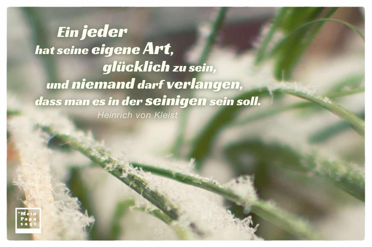 Schnee auf Gräsern mit von Kleist Zitate Bilder: Ein jeder hat seine eigene Art, glücklich zu sein, und niemand darf verlangen, dass man es in der seinigen sein soll. Heinrich von Kleist
