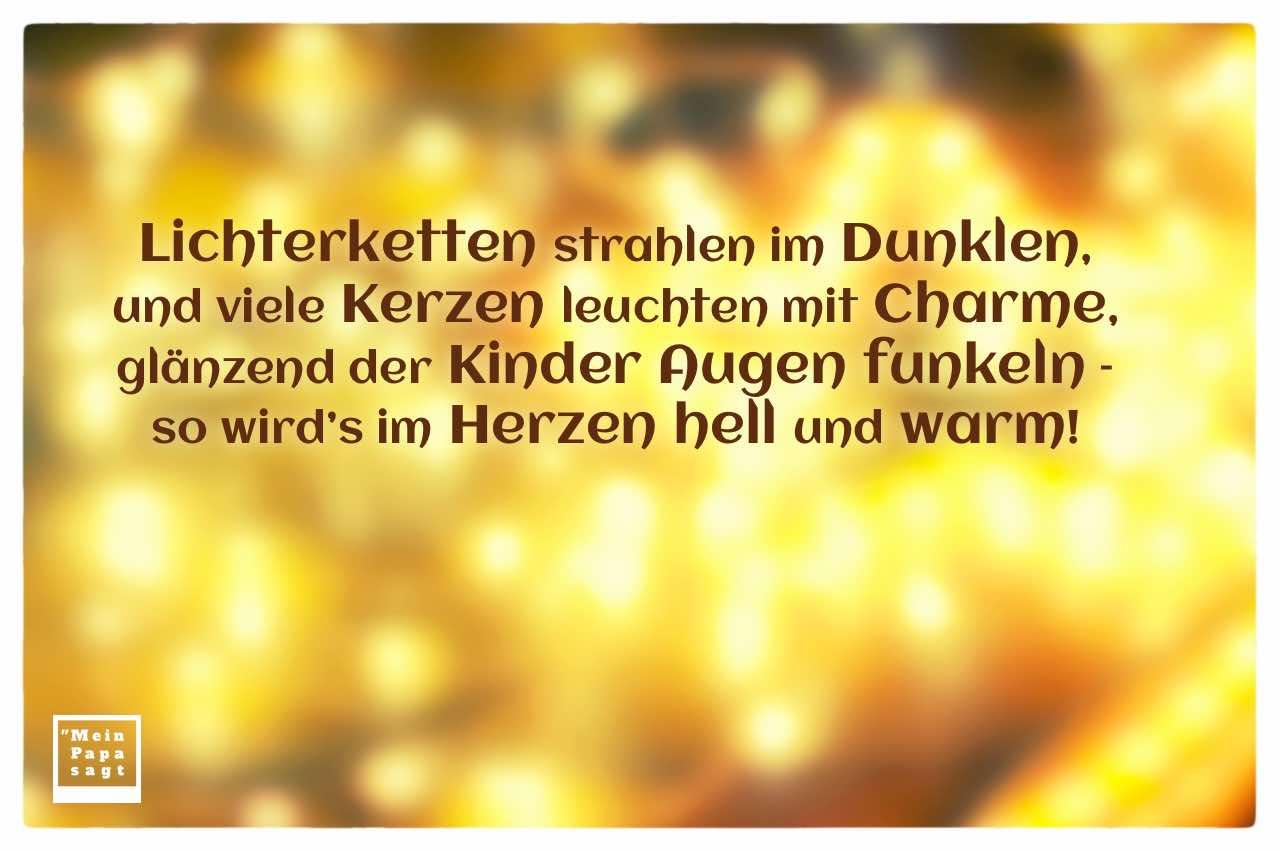 Lichterkette unscharf mit Weihnacht Gedicht: Lichterketten strahlen im Dunklen, und viele Kerzen leuchten mit Charme, glänzend der Kinder Augen funkeln - so wird's im Herzen hell und warm!