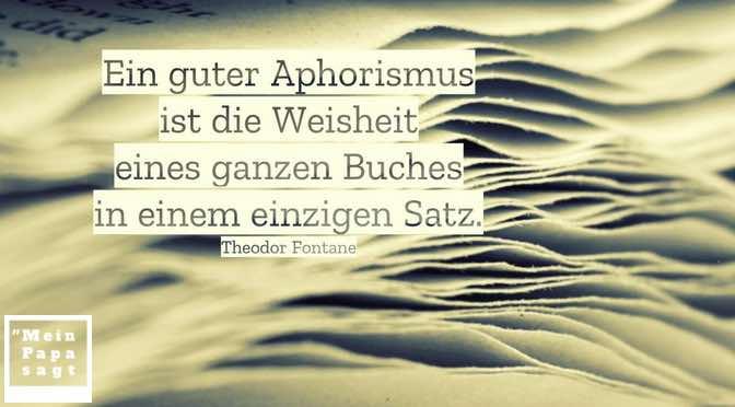 Ein guter Aphorismus ist die Weisheit eines ganzen Buches in einem einzigen Satz