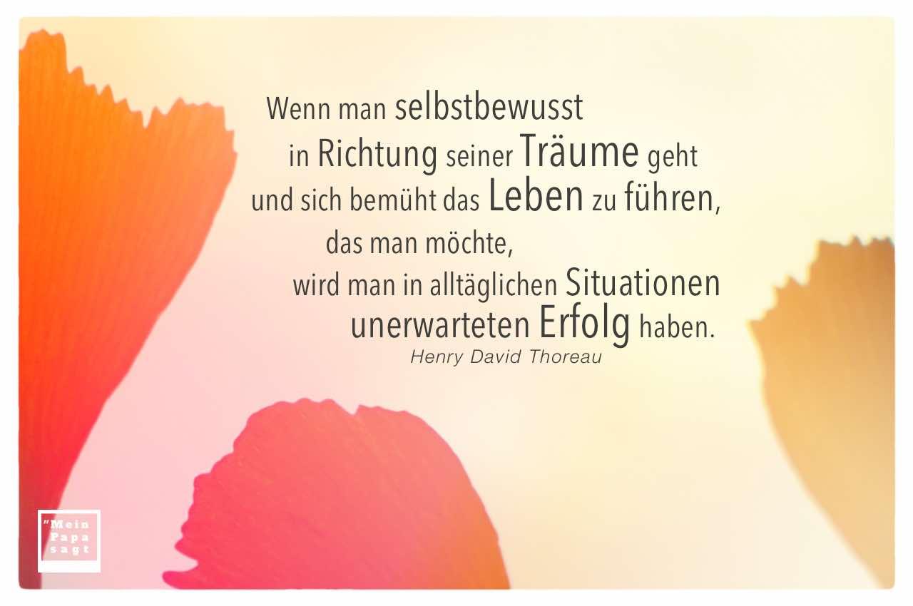 Gingko Blätter mit Thoreau Zitate Bilder: Wenn man selbstbewusst in Richtung seiner Träume geht und sich bemüht das Leben zu führen, das man möchte, wird man in alltäglichen Situationen unerwarteten Erfolg haben. Henry David Thoreau
