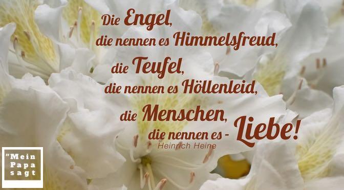 Die Engel, die nennen es Himmelsfreud, die Teufel, die nennen es Höllenleid, die Menschen, die nennen es – Liebe!