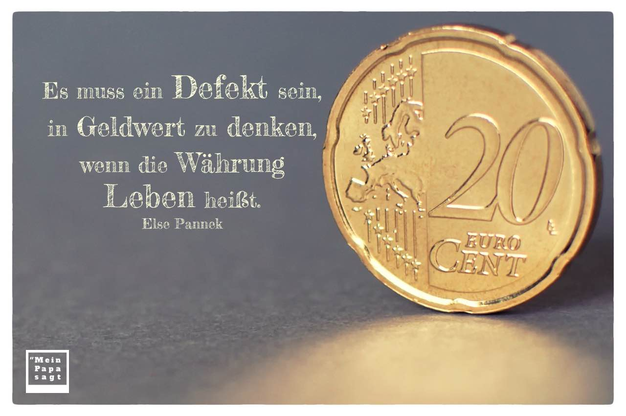 20 Euro Cent mit Pannek Zitate und Bildern: Es muss ein Defekt sein, in Geldwert zu denken, wenn die Währung Leben heißt. Else Pannek