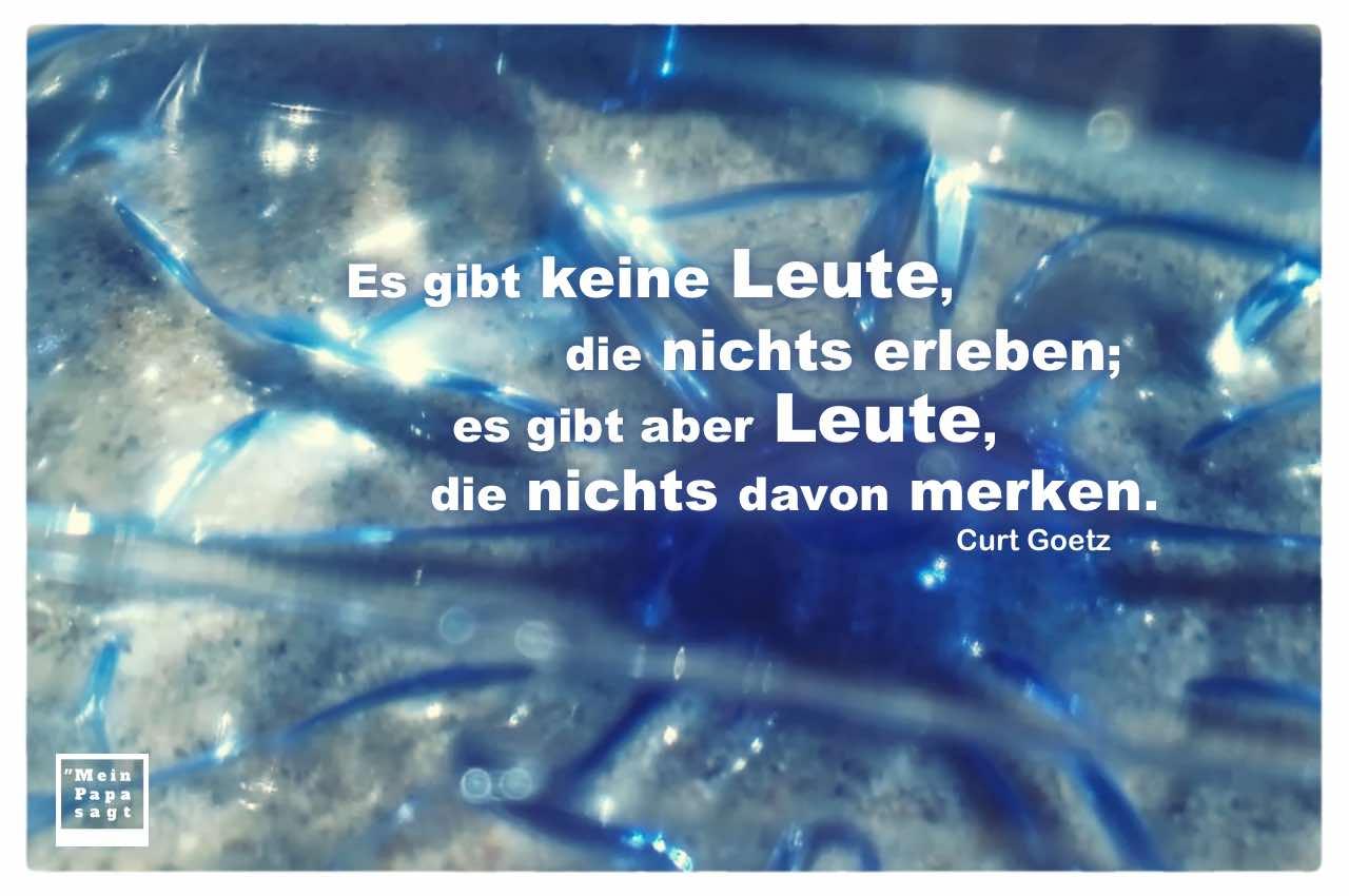 Plastikflasche auf Strand mit Goetz Zitate Bilder: Es gibt keine Leute, die nichts erleben; es gibt aber Leute, die nichts davon merken. Curt Goetz