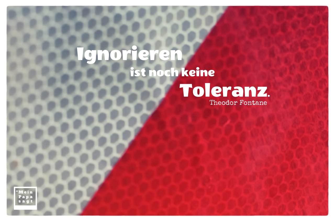 Baustellen-Schild mit Fontane Zitate Bilder: Ignorieren ist noch keine Toleranz. Theodor Fontane